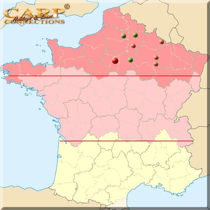 Noord Frankrijk, wij gaan tot 450km. van Breda